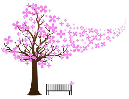 banco parque: ilustraci�n vectorial de un banco de parque de madera en un parque nevado invierno brumoso en d�a soleado