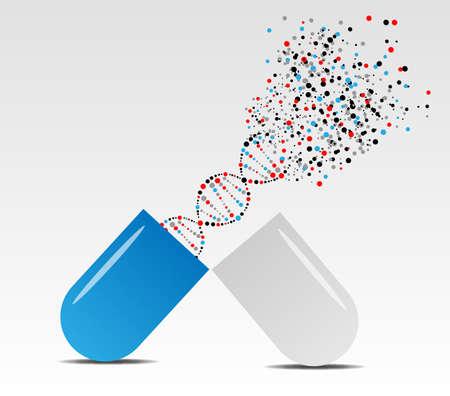 capsula mostra molecola come concetto medico Vettoriali