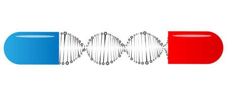 capsule shows molecule as medical concept  Illustration