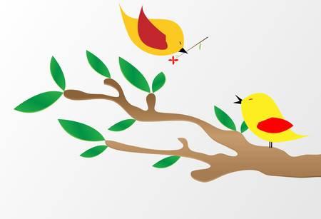 bough: Autumn branch - vector