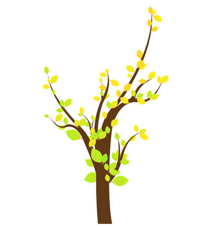 dense: tree with roots and dense foliage, vector