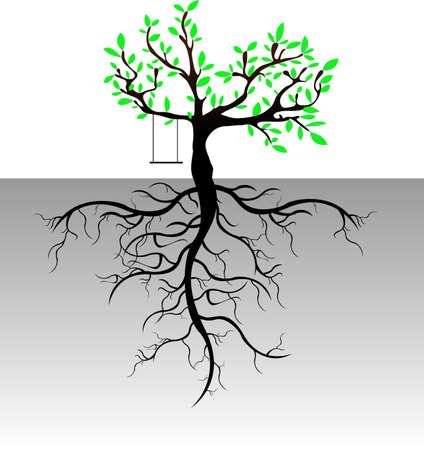 simbolos religiosos: Árbol con el fondo de las raíces, vector
