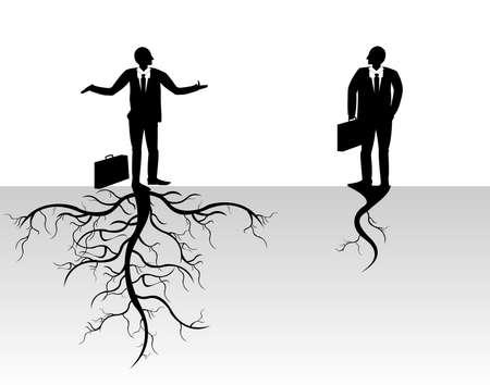 g�n�alogie: homme avec les racines des arbres Il est isol� sur un fond blanc