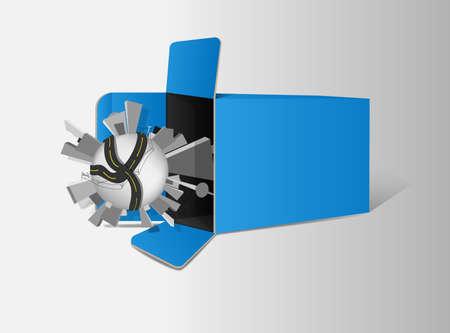 Globe and box   Vector