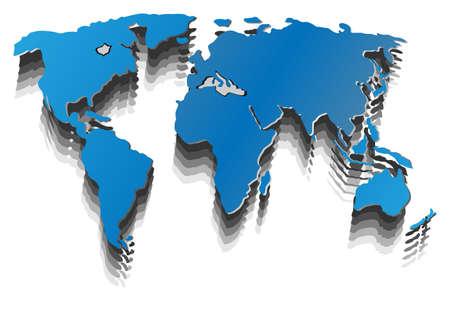 world atlas: 3d image of white world map