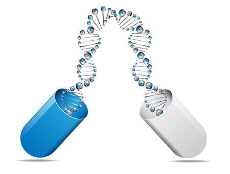 ベクトルの概念の DNA 分子構造と医療カプセル  イラスト・ベクター素材
