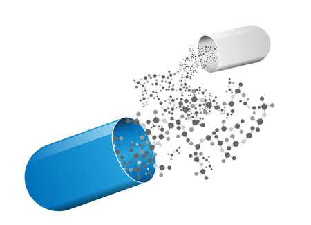 개념 DNA 벡터와 같은 의료 캡슐과 분자 구조 일러스트