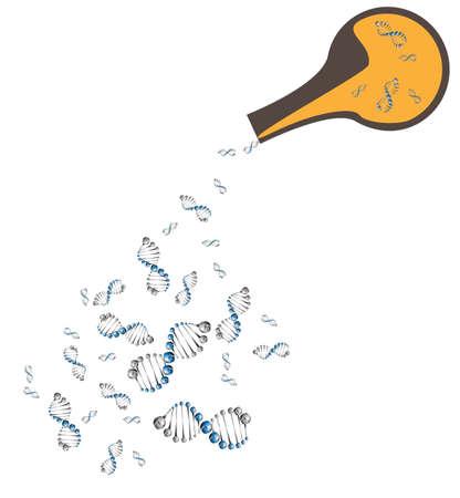 dna strands: Vector Background - DNA Strands Laboratory flask