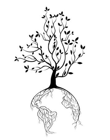 international recycle symbol: Globe concept tree roots  Illustration