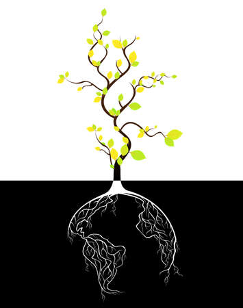 africa tree: Globe concept tree roots  Illustration