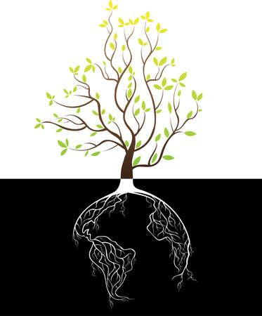 Globe radici concetto di albero Archivio Fotografico - 26039234