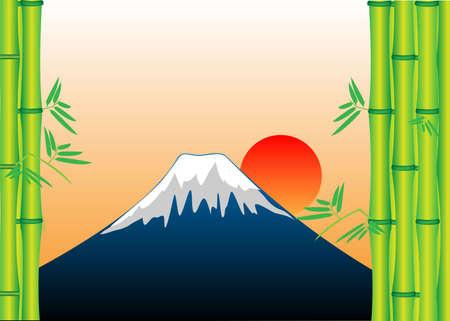 Mount Fuji Bamboo vector illustration