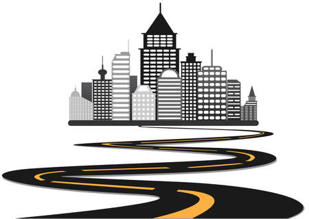 dream land: road leads to city vector background