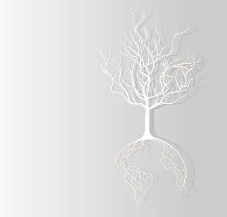 mapas conceptuales: Fondo de papel concepto Globe raíces de los árboles bordeado Vectores