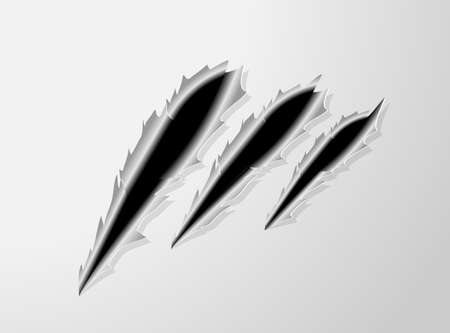 laceration: races of an animal claws on steel background  Ready for a text Illustration