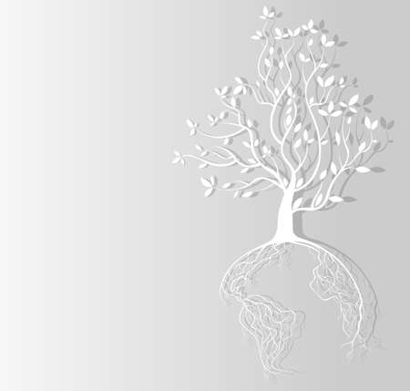 Globe concept tree roots bordered paper background   Vector