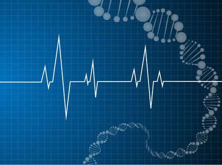 heart beats dna molecule Medical background  Иллюстрация