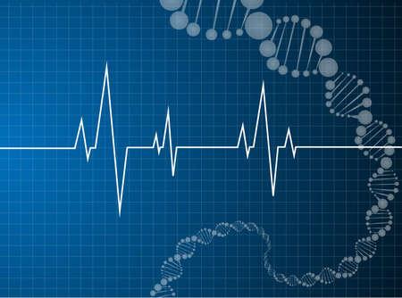 heart beats dna molecule Medical background  Illustration