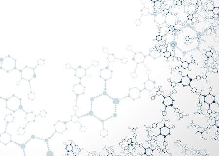 quimica organica: Ilustración estructuras moleculares de vectores de fondo