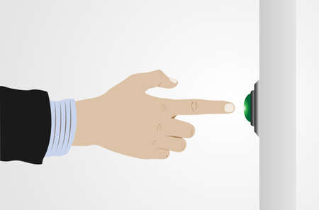 moving down: Hand pushing button touch Vector