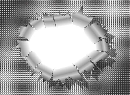 punched through: Bullet Hole Metal vector  Illustration