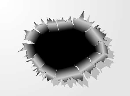 El agujero de bala de metal vector