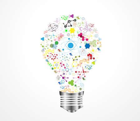 創造的な電球アイデア医療 DNA 化学と科学アイコンの教育の概念、ベクトル イラスト