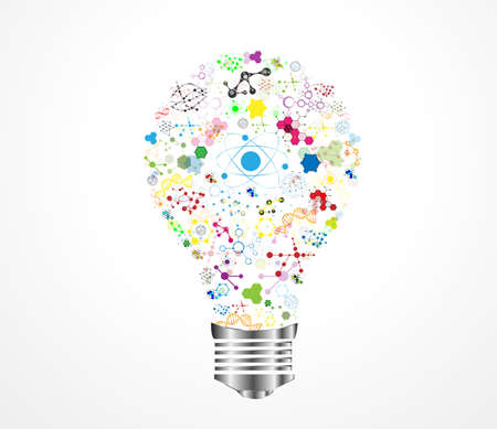 Luz creativa idea bombilla ADN médica con la química y la ciencia concepto icono de la educación, ilustración vectorial Vectores