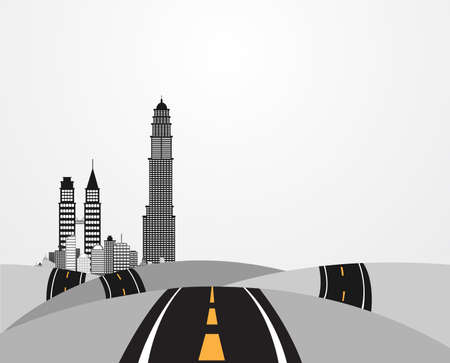 Illustration of the hills across the tall buildings  Vector