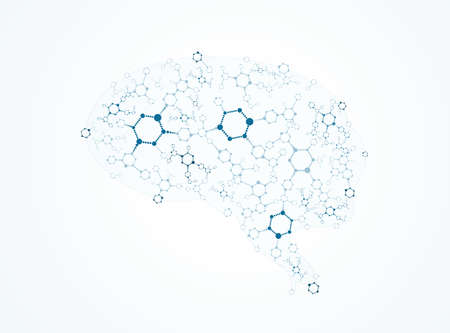 Abstract image of the brain of molecules Vector