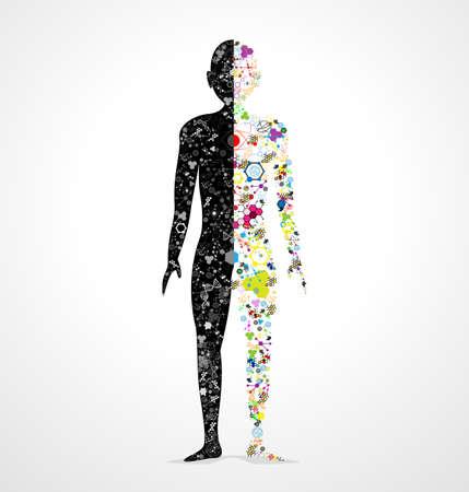 Abstract model van de mens van het DNA-molecuul Stock Illustratie