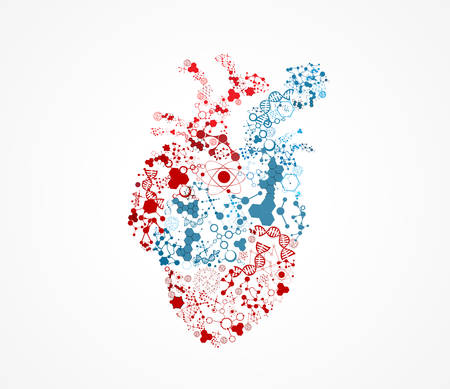 heart attacks: Abstract heart molecular shape illustration, scientific design.