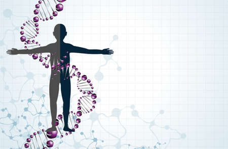DNA 분자의 남자 모델. (10) 주당 순이익 일러스트