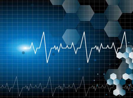computer health: medical cardiac molecular background vector Illustration