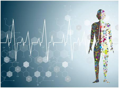 adn humano: corazón molécula de Salud y Fondo médico Vectores