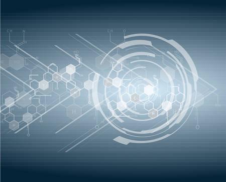 hitech: DNA molecule structure bright hi-tech circuit board background. Vector Illustration