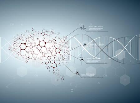 Molecular human brain, Creative concept vector illustration.