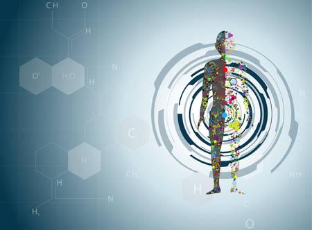 biotecnologia: Concepto de cuerpo mol�cula del ADN humano Eps10 Vectores