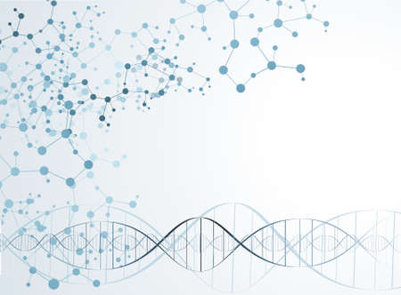 organic chemistry: ADN estructura de la molécula de fondo. ilustración vectorial