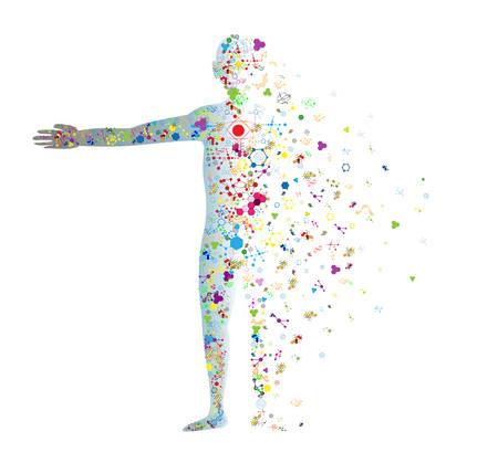 인간의 DNA 분자의 몸 개념 일러스트