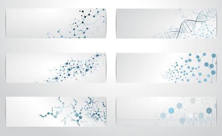 química: Conjunto de fondos digitales para molécula de ADN Ilustración de la estructura del vector. Vectores