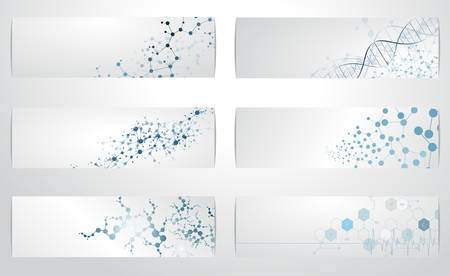 Set of digital backgrounds for dna molecule structure vector illustration.