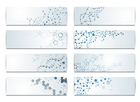 evolution: Set of digital backgrounds for dna molecule structure vector illustration.