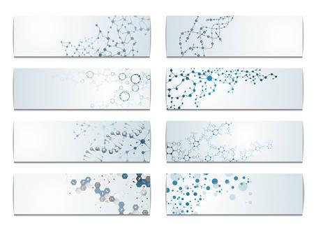 cells biology: Set of digital backgrounds for dna molecule structure vector illustration.