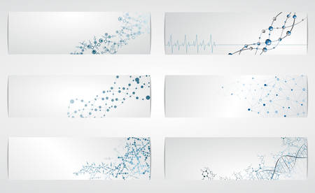 DNA 분자 구조의 벡터 일러스트 레이 션 디지털 배경의 집합입니다. 일러스트