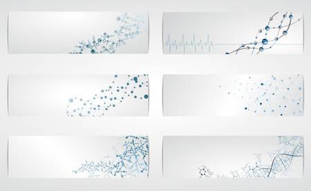 molecular science: Set of digital backgrounds for dna molecule structure vector illustration.
