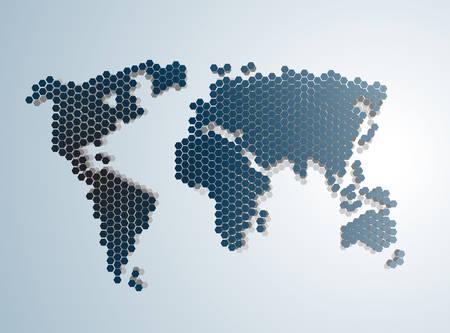 Digital Abstract Modern World map vector illustration. Çizim