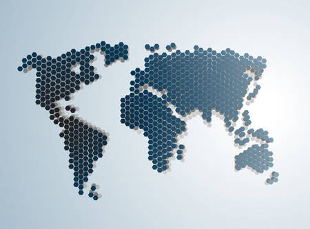 digital world: Digital Abstract Modern World map vector illustration. Illustration