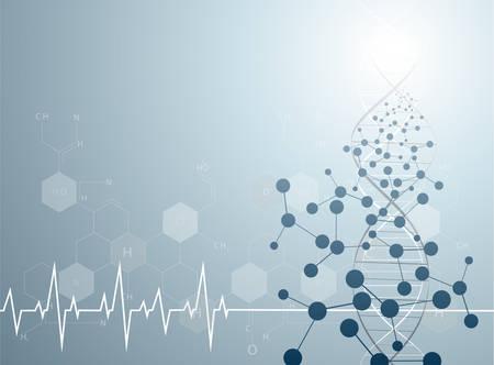 molecuul hart Gezondheidszorg en medische achtergrond Vector Illustratie