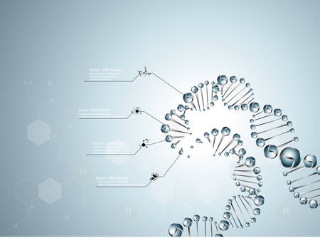 laboratory research: dna molecule structure background.  vector illustration